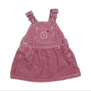 Osh Kosh Red Pinstripe Overall Dress, Size 12 M
